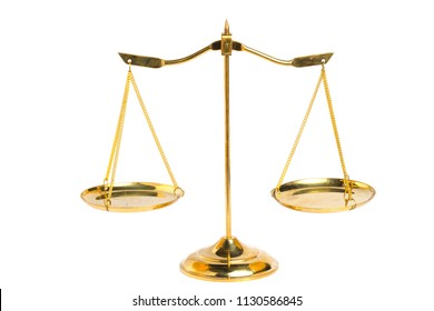 Gold brass balance scale isolated on white background with clipping path. Sign of justice, lawyer