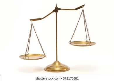 Gold brass balance scale isolated on white background. Sign of justice, lawyer