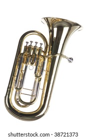 A gold brass euphonium tuba baritone horn isolated against a white background.