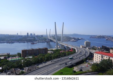 The Gold Bridge in Vladivostok (Russia)