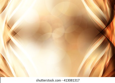 Gold bright waves art. Blurred effect background. Abstract creative graphic design. Decorative fractal style.