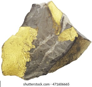 Gold broke out of a stone, released on a white background.