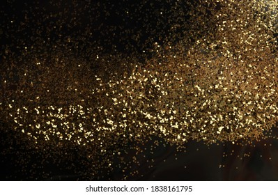 Gold (bronze) glitter shine dots confetti on black. Abstract light blink sparkle horizontal backgound.