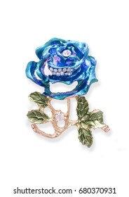 Gold brooch blue rose with diamonds isolated on white
