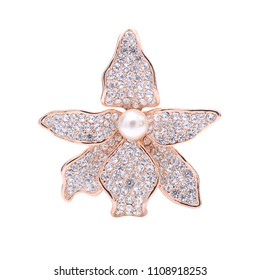 gold brooch flower with diamonds and pearls isolated on white