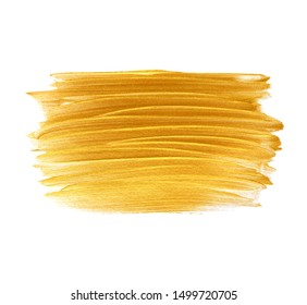 Gold brush paint stroke isolated on white background - Image.