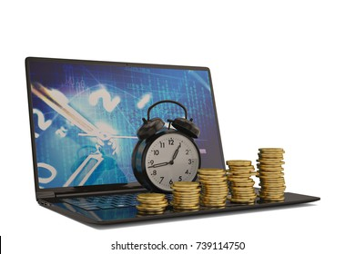 Gold bull with laptop on white background.3D illustration.