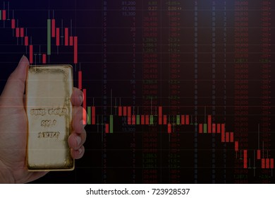 gold bullion and gold future monitor trade downtrend graph situation concept