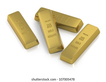 Gold bullion or ingots as composition of four kilo bars with stamped markings on white background