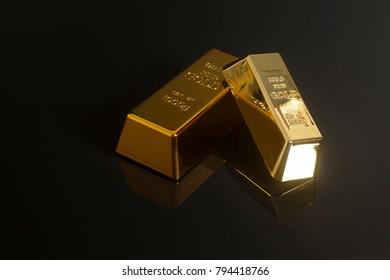 Gold bullion isolated on a black background.
