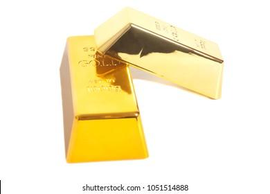 Gold bullion isolated on white background