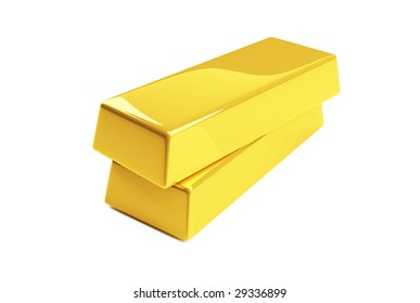 gold bullion isolated on a white