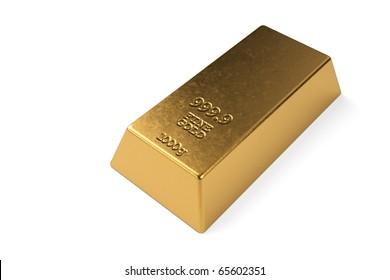 Gold bullion isolated on a white background