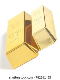 Gold bullion on a white background
