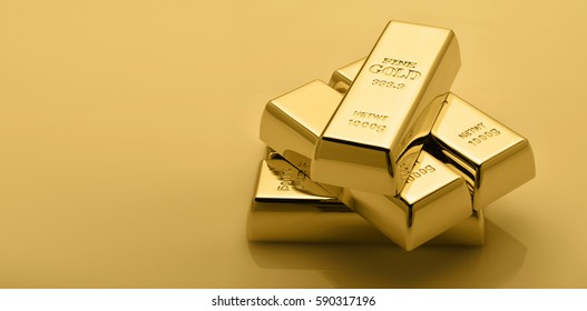 Gold bullion stack. Financial concept. Set of gold bars.