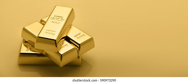 Gold bullion stack. Financial concept.