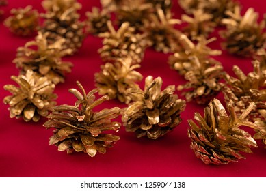 gold bumps on a red background