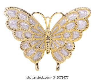 Gold butterfly decoration isolated on white background