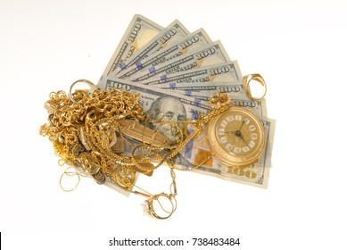 Gold for cash concept on a white background