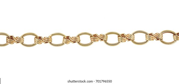 Gold chain closeup fragment  isolated on white background