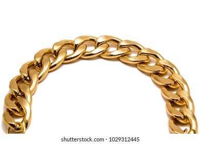 Gold chain isolated on white