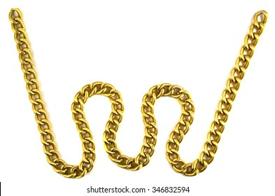Gold chain isolated on white  background