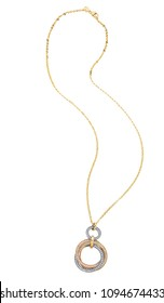 Gold chain necklace isolated