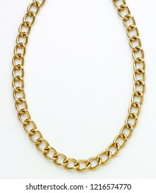 Gold chain on white background isolated