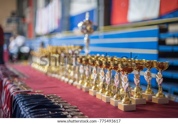 Gold Champion Trophies Medals Lined Rows Stock Photo (Edit