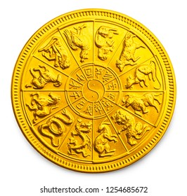 Gold Chinese New Year Calendar Zodiac Coin Isolated on White.