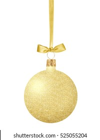 Gold Christmas ball with bow on ribbon isolated on white background