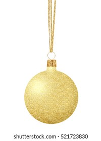 Gold Christmas ball on ribbon isolated on white background