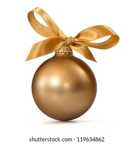 gold Christmas ball with ribbon