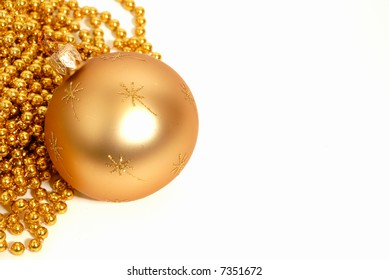 Gold Christmas ball with space for text, isolated on white