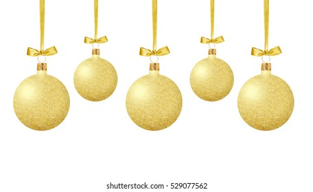 Gold Christmas balls with bow on ribbon isolated on white background