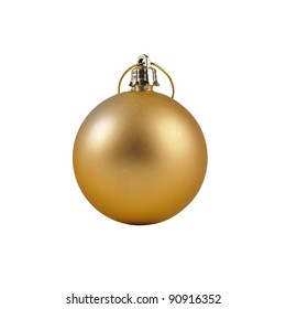 Gold Christmas Bauble isolated on white with clipping path.