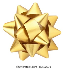 Gold Christmas bow isolated on white clipping path included