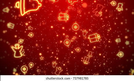 Gold Christmas decoration and particles bokeh on red background.