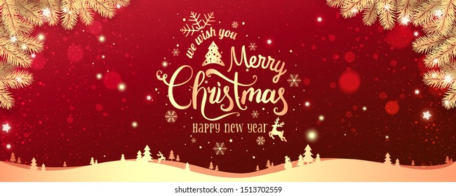 Gold Christmas and New Year Typographical on red Xmas background with winter landscape with snowflakes, light, stars. Merry Christmas card. Vector Illustration - Shutterstock ID 1513702559