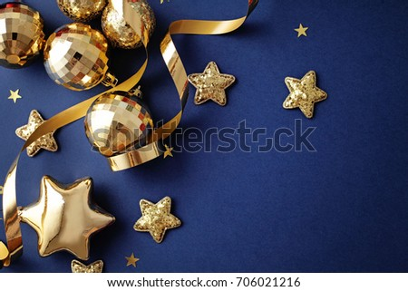 gold christmas ornaments on navy blue background seasonal decoration - Navy And Gold Christmas Decorations