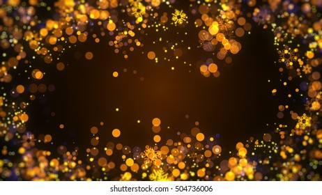 Gold Christmas Sparkle Particle Frame Background for christmas project greeting with snowflakes, star and bokeh particle element.