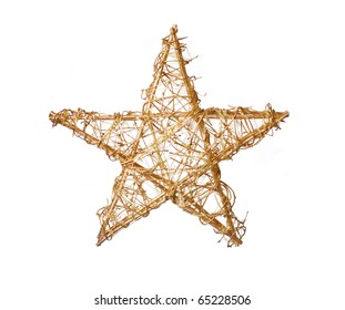 Gold christmas star isolated on white, a lot of copyspace available