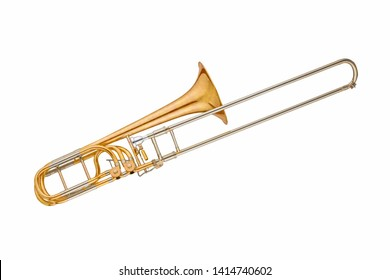 Gold classic brass musical instrument trombone isolated on white background. Music instruments series