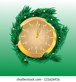 gold clock is decorated by fir-tree branches on a green background