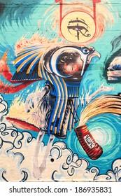 GOLD COAST- APR 6: Street art by unidentified artist. Gold Coast's graffiti management plan  recognizes the importance of street art in a vibrant urban culture - April 6 2014 in Gold Coast, Australia