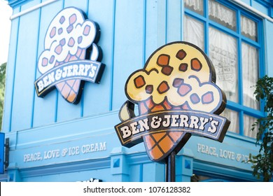 Gold coast, AUS - Apr18, 2018 : Ben & Jerry's ice cream shop in Movie World's Gold Coast. In 2013, Ben&Jerry's committed to make their products GMO-free supporting mandatory GMO labeling legislation.