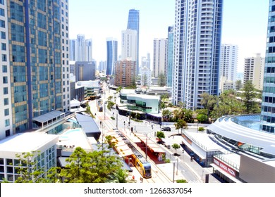 GOLD COAST, AUS - DEC 09 2018:Aerial view of Gold Coast Light Rail G in Surfers Paradise Av in Gold Coast Queensland, Australia.The line opened on July 2014 and it 13 Km (8.1 mi) long.