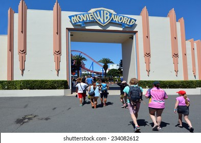 GOLD COAST, AUS -  NOV 06 2014:Visitors enters Movie World Gold Coast Queensland Australia.The park opened in 1991 and contains various movie-themed rides and attractions.