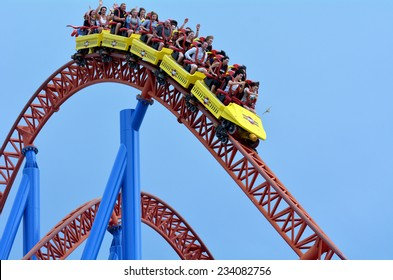 Roller coaster images stock photos vectors shutterstock gold coast aus nov 06 2014visitors ride on superman escape in movie gumiabroncs Gallery