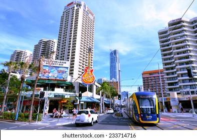 GOLD COAST, AUS - NOV 10 2014:Gold Coast Light Rail G in Surfers Paradise Av, Gold Coast Queensland, Australia.The line opened on July 2014 and it 13 Km (8.1 mi) long.